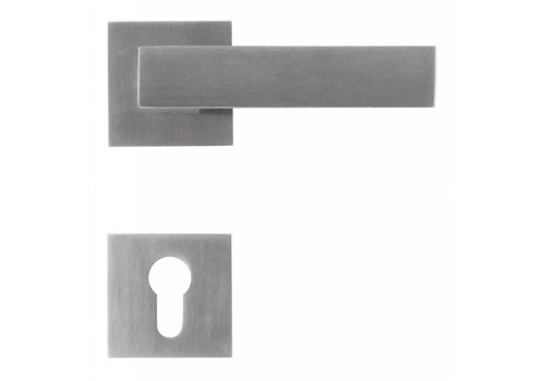 Solid stainless steel door handles 'Square 1' with PZ