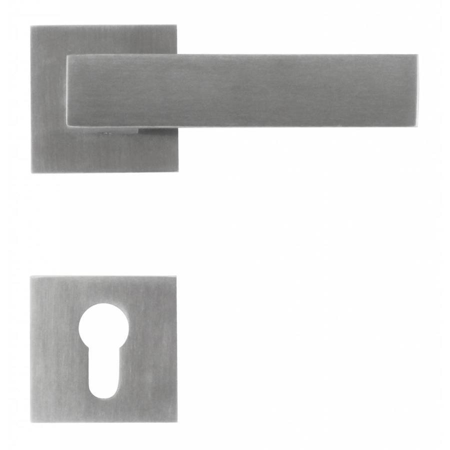 Massieve RVS deurklinken 'Square 1' met cilinderplaatjes