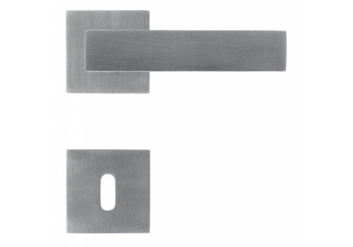 Solid stainless steel door handles 'Square 1' with key plates