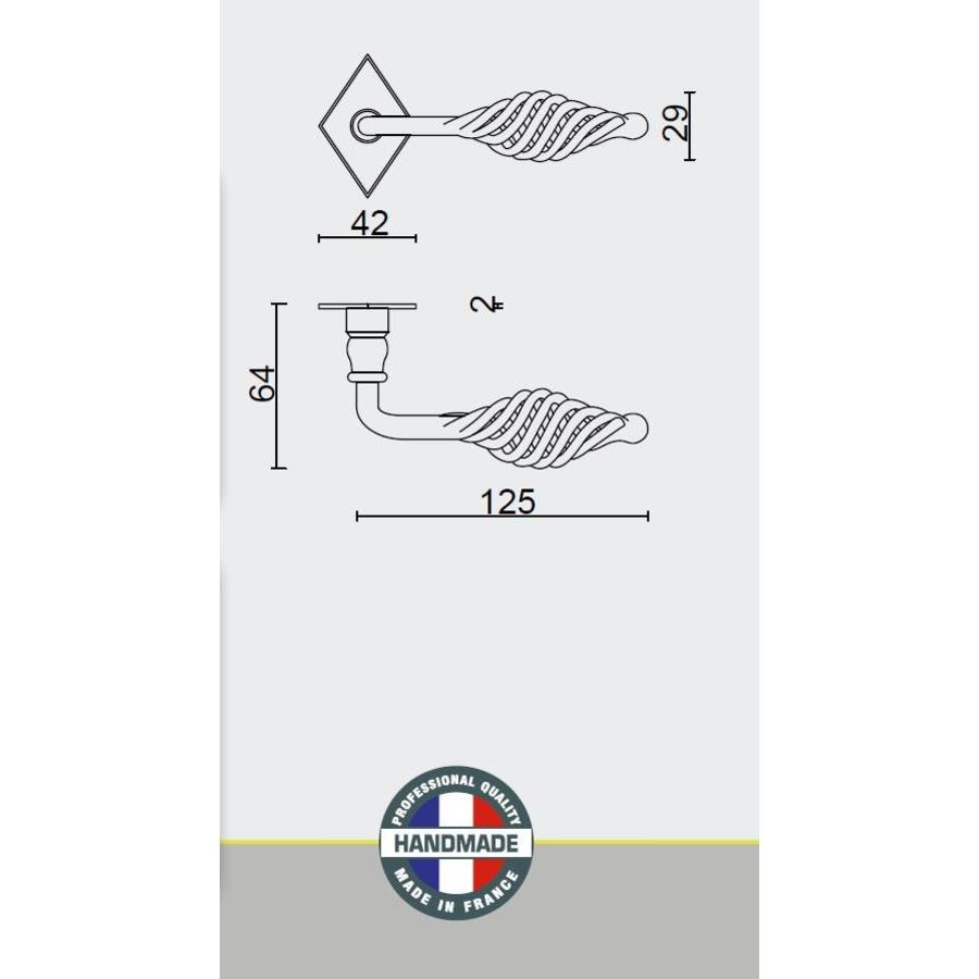 DEURKLINK SPIRALUS ROEST RUIT R+WC-SLOT
