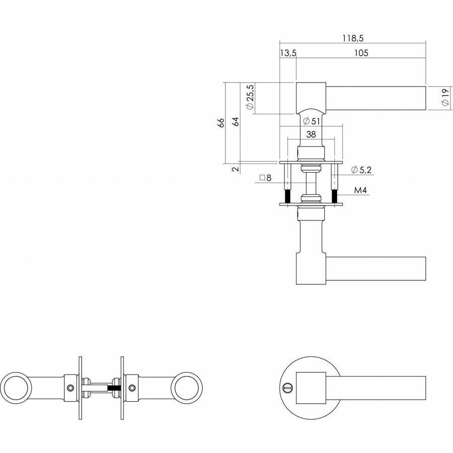 Deurkruk L/L-model recht + ronde platte rozet 50x2mm geborsteld RVS