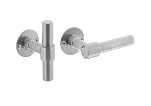 Stainless steel door handles L/T-model with round flat rosettes 50x2mm without BB