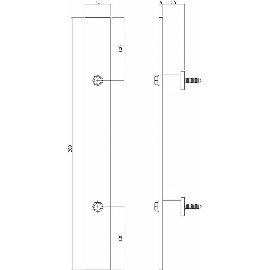 Deurgreep plat 800mm x 40mm tbv schuifdeur, mat zwart