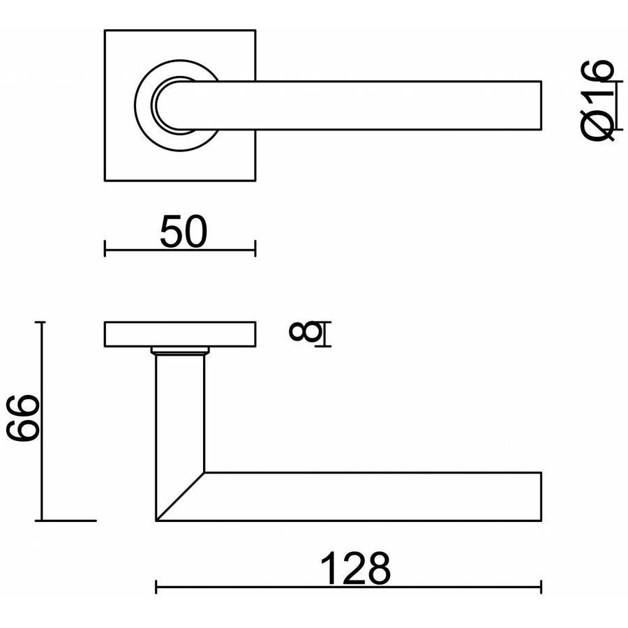 Zwarte deurklinken 'Square I Shape 16mm' met sleutelplaatjes