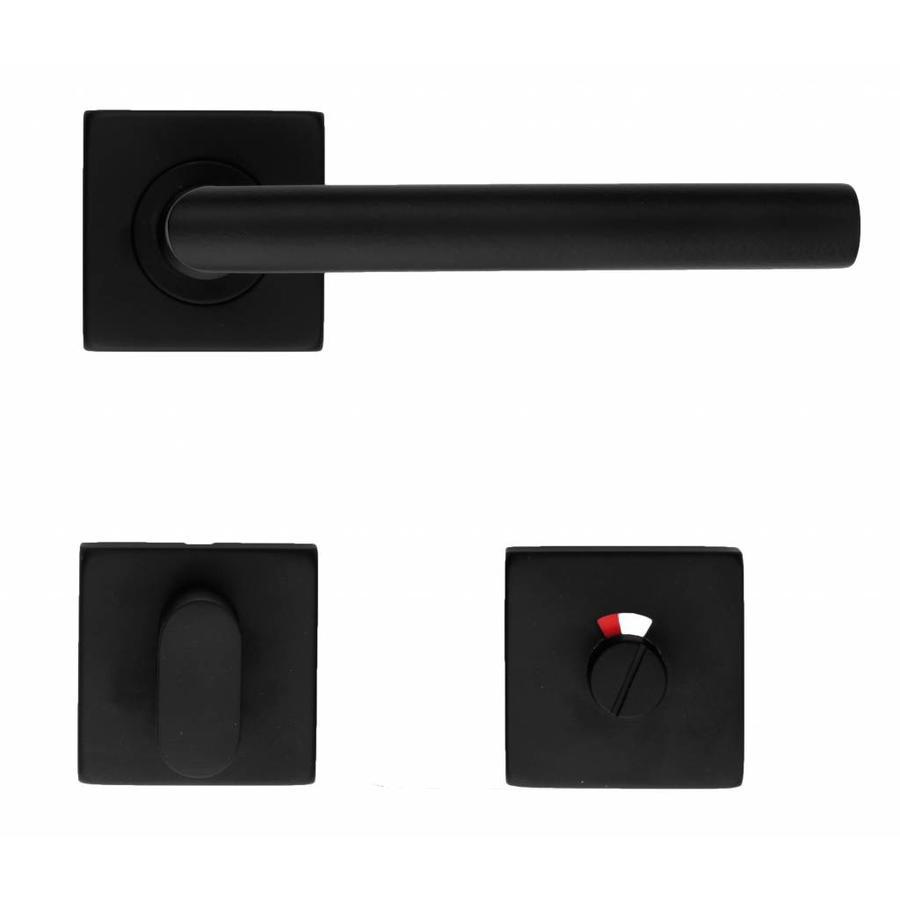 Zwarte deurklinken 'Square I Shape 16mm' met WC garnituur