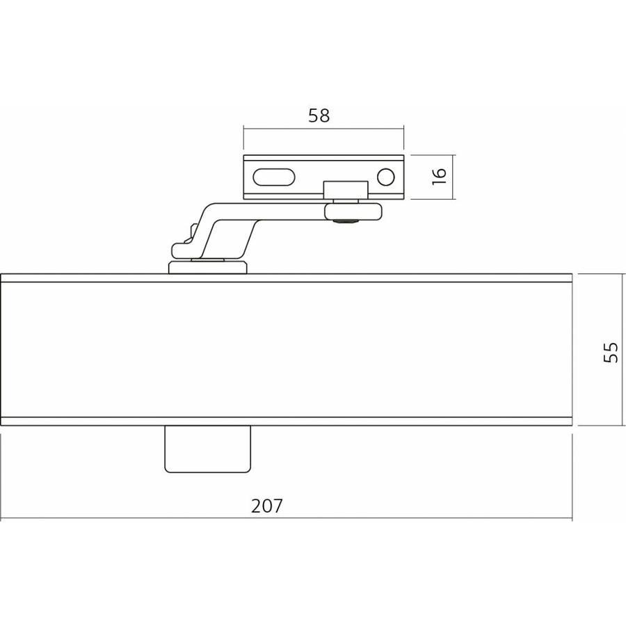 Zwarte deurdranger met schaararm, Type DR120, 207x55x40, sluitkracht 2~4