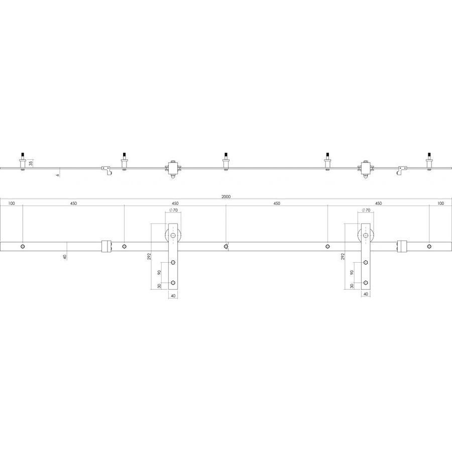 Schuifdeursysteem 2 meter, Basic antiek