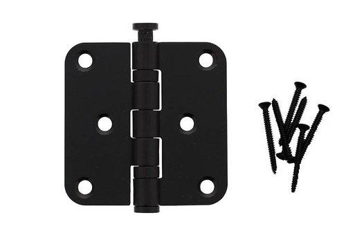Zwarte kogelscharnier afgerond 76x76x2.5mm RVS