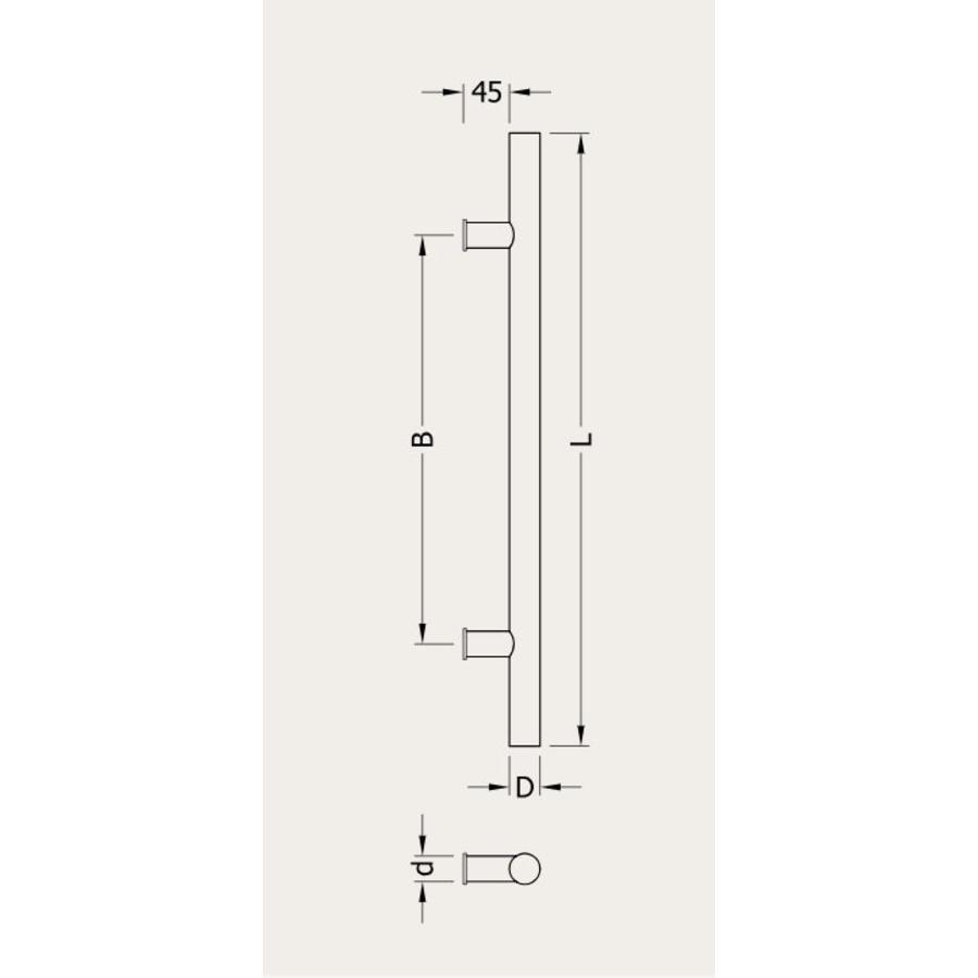RVS + houten deurgreep voor sauna of spa 25/150/350 mm