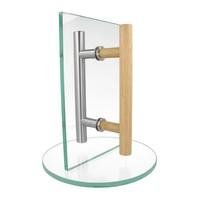 RVS + houten deurgreep voor sauna of spa 25/300/500 mm