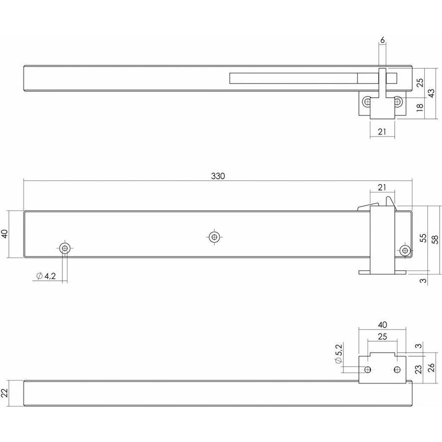 Zwarte sluitvertrager wandmontage tbv schuifdeursysteem