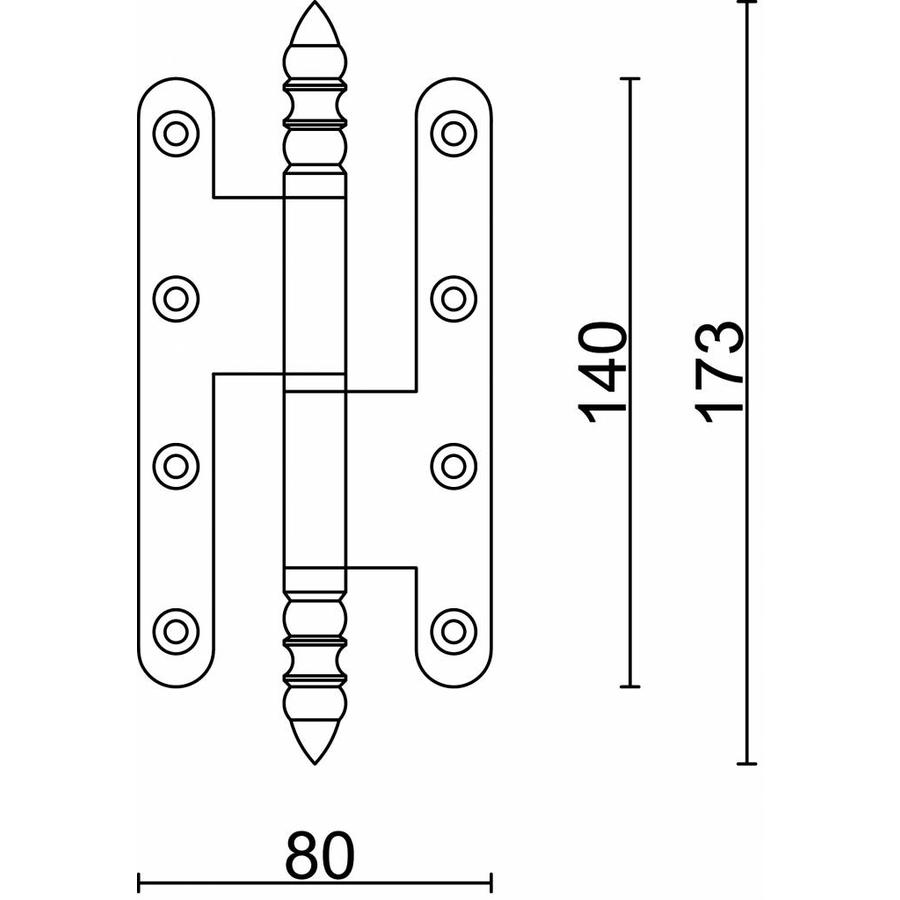 Paumel BR 3.5 x 80 x 140 mm zwart rechts