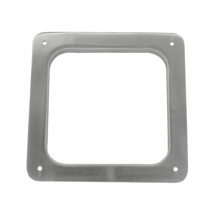 Vierkante patrijspoort 200mm RVS met schroefgaten