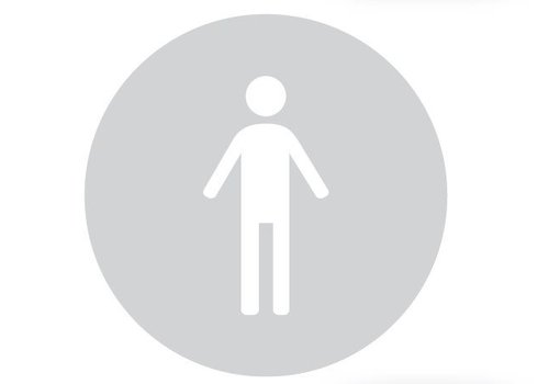 GLAS ROND PICTO WC MAN 298MM DIKTE 4MM