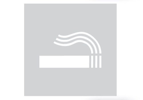 GLAS QUADRATISCHER PICTO RAUCHRAUM 198 MM DICKE 4MM