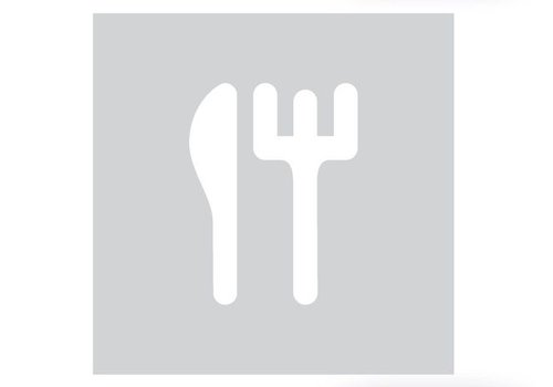 GLASS SQUARE PICTO CUTLERY 198 MM THICKNESS 4MM