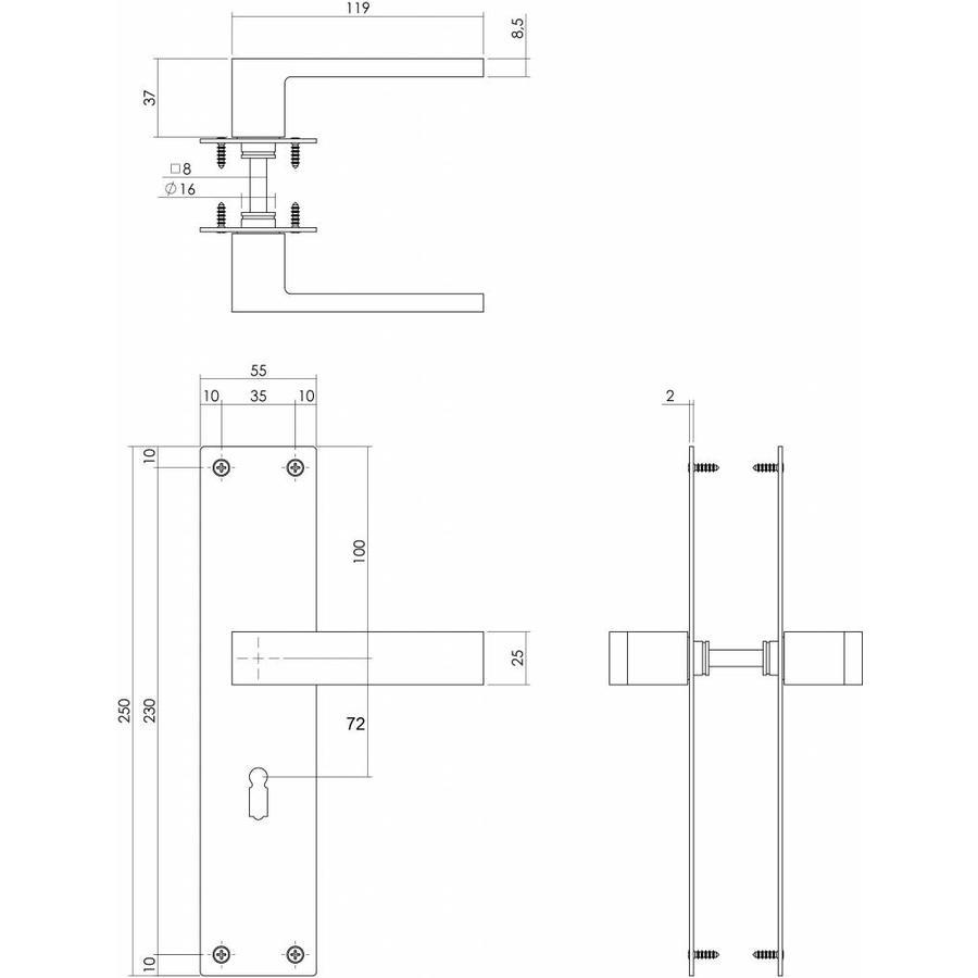 Türgriffpaar Amsterdam matt schwarz auf Schild mit 72mm Schlüsselloch