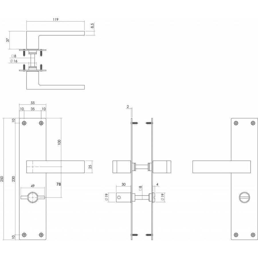 Deurkruk Amsterdam WC 78/8 zwart met renovatieschild 2mm