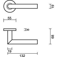 Witte deurklinken I Shape 19mm met sleutelplaatjes