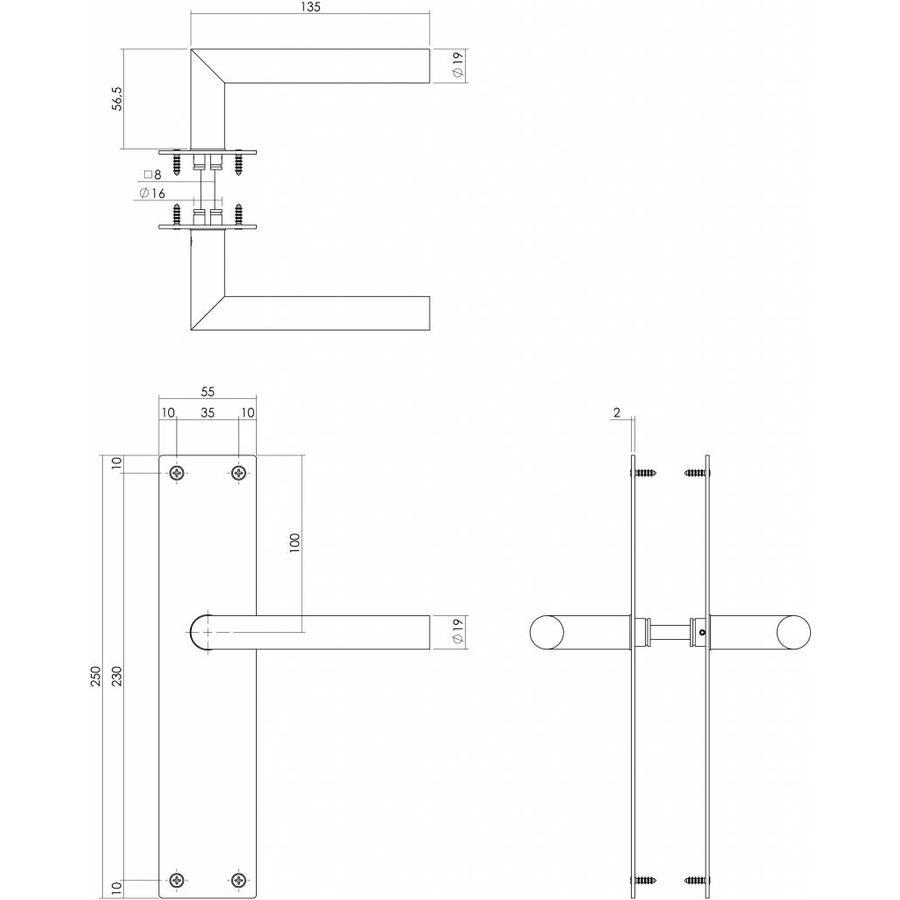 Deurkruk recht hoek 90° Ø19mm met langschild 250X55X2mm blind RVS