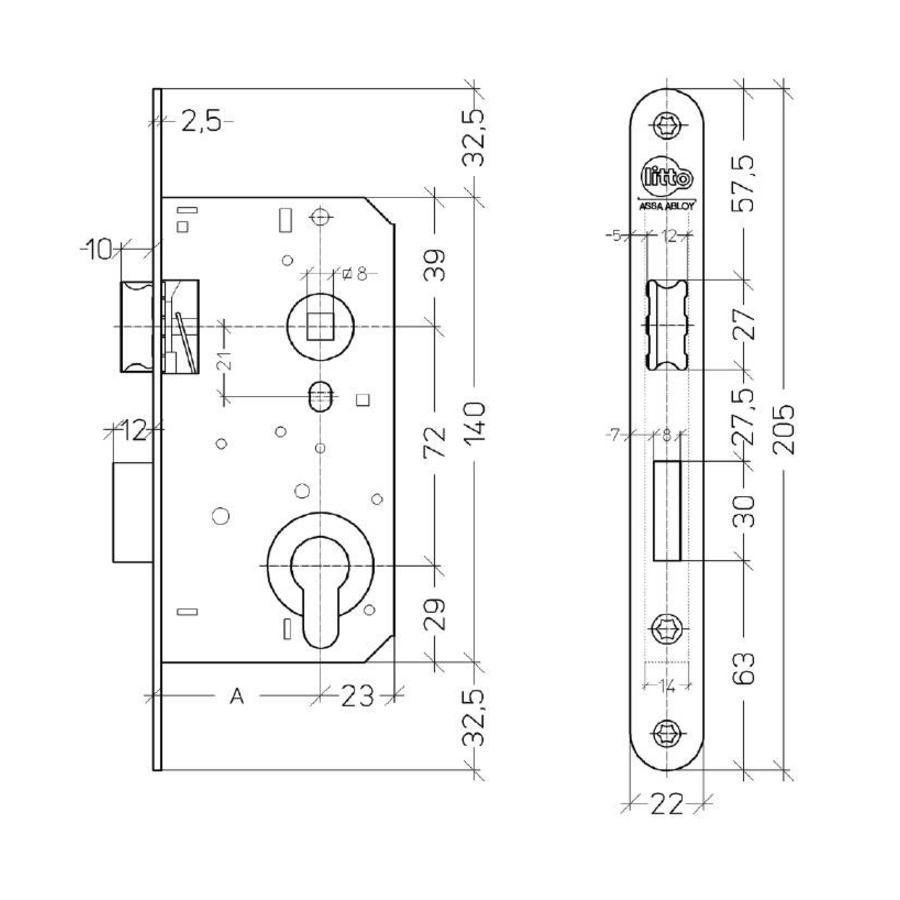 Dag- en nacht cilinderslot met sluitplaat - asmaat 72mm - doorn 50mm  - inox look met afgeronde voorplaat 205x22mm