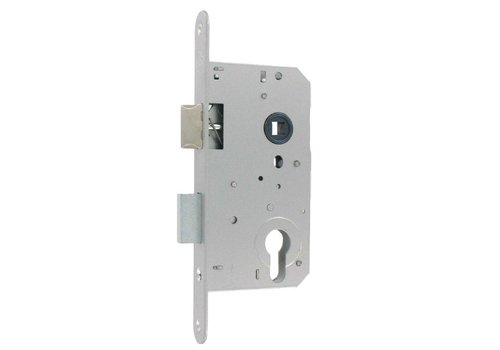 Day and night cylinder lock - 72 / 50mm - stainless steel look with rounded front plate 205x22