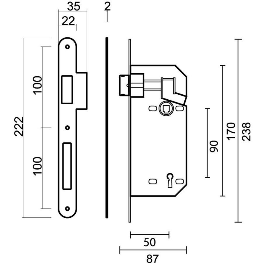 SLOT AGB NIKKEL 90MM, 22x238MM, DOORN 50MM