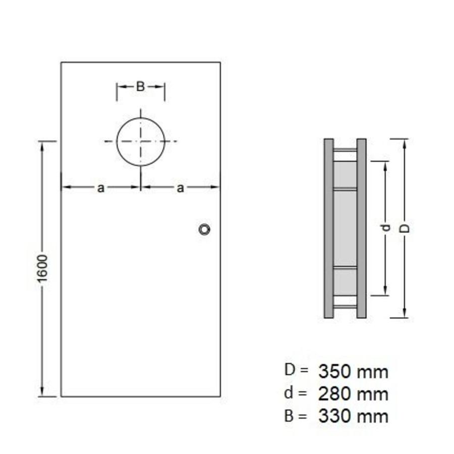 Dunne RVS patrijspoort B5000 350 mm