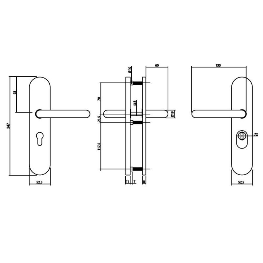 Intersteel Veiligheidsbeslag SKG3 profielcilindergat 72 mm met kerntrekbeveiliging ovaal achterdeurbeslag rvs geborsteld