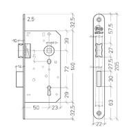 Litto binnendeurslot asmaat 72mm / doorn 50mm, RVS look met afgeronde voorplaat 205x22mm