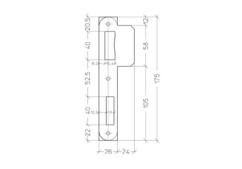 Rounded plate PA052 - 175x50mm