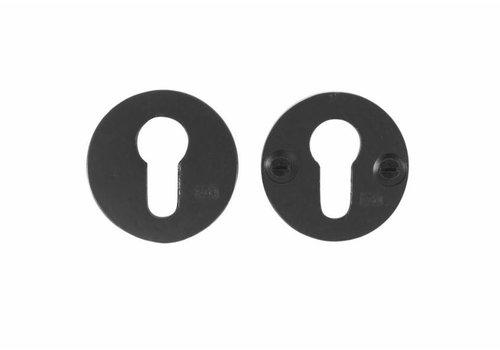 Set veiligheidsrozet rond 50mm - verouderd ijzer - zwart