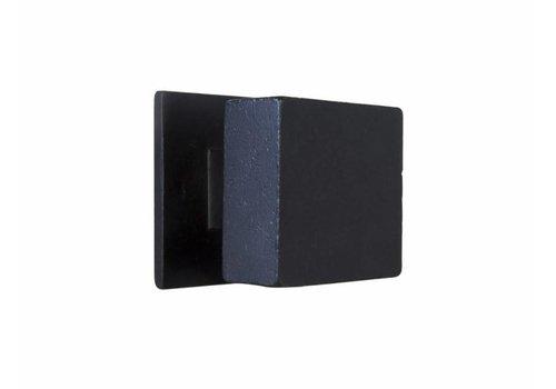 Bouton de porte carré PQ-65 fer vieilli noir - 65mm