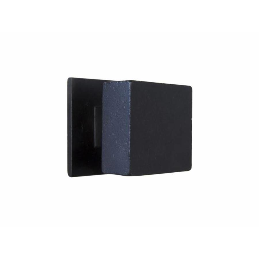 Zwarte voordeurknop uit natuurlijk verouderd ijzer gegoten 65mm