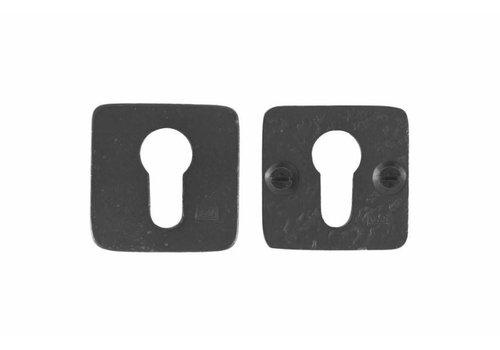 Set Sicherheitsrosette quadratisch 50mm - gealtertes Eisen - schwarz