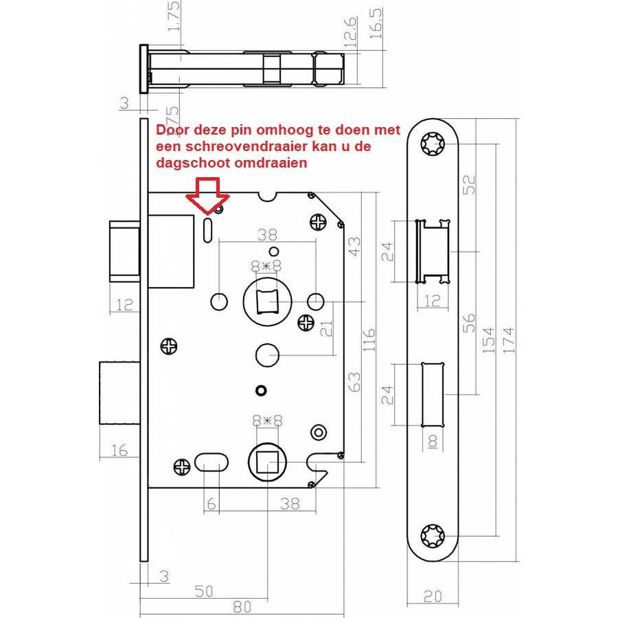 Toilettenschloss weiß mit Schaftgröße 63/8mm, abgerundete Frontplatte 20x175mm, Dorn 50mm inkl.