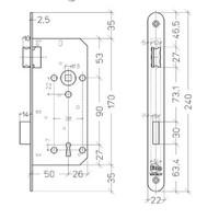 Litto klavierslot asmaat 90mm / doorn 50mm - RVS look - met afgeronde voorplaat 240x22mm
