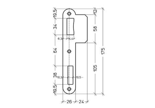 Afgeronde sluitplaat PA090 - 175x50mm