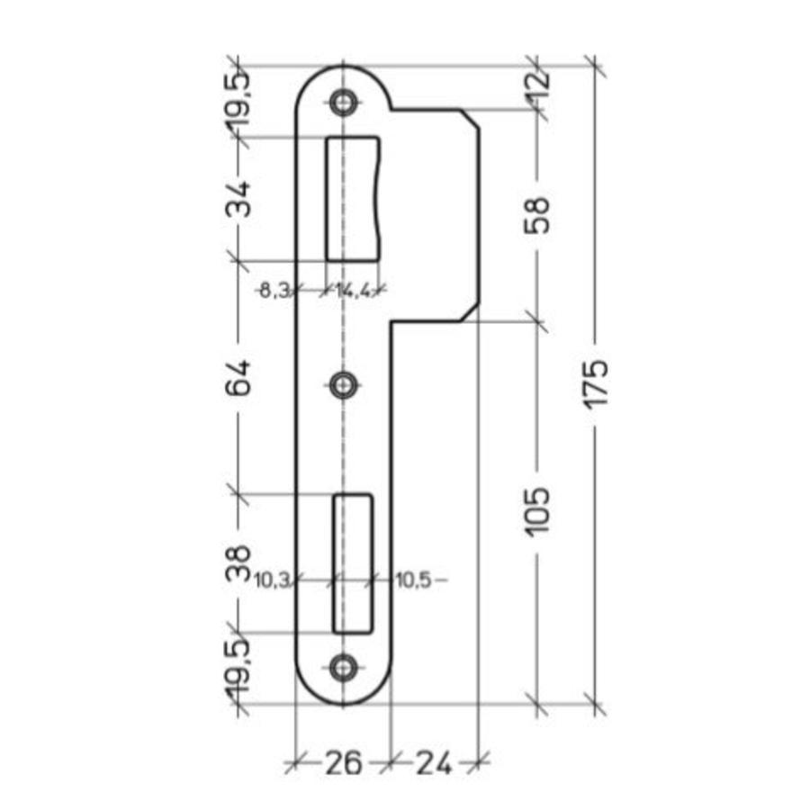 Afgeronde sluitplaat voor Litto inbouwsloten reeks 90 - 175x50mm