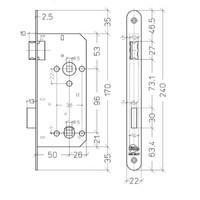 Litto  WC-slot 96/50 RVS gelakt met afgeronde voorplaat van 240x22mm