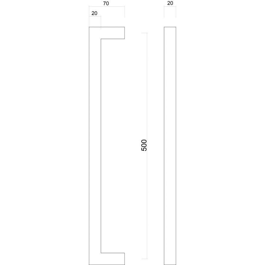Deurgreep Cubica 20/500 zwart paar voor deurdikte > 3cm