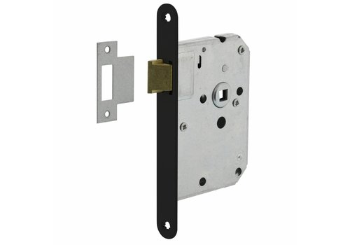 Black barrel lock with rounded front plate 20x175mm, mandrel 50mm
