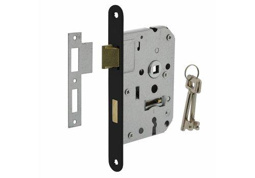 Schwarzes Schloss mit Schlüssel, 55 mm, Schwarz, 20 x 175 mm, Dorn 50 mm