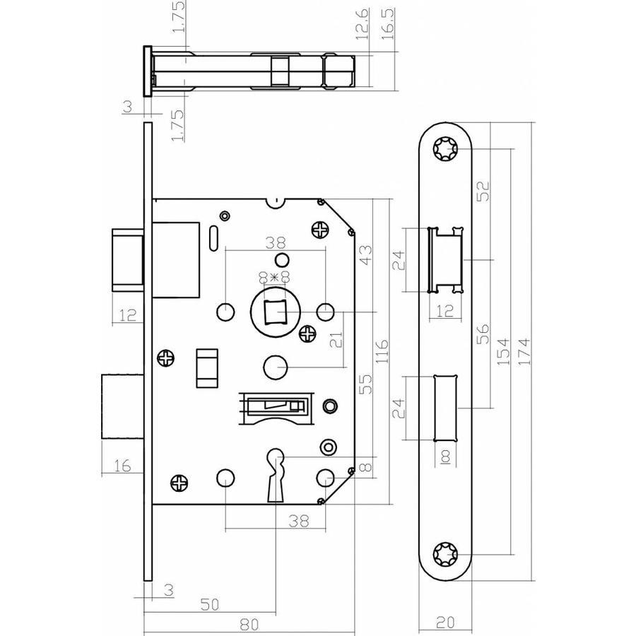 Zwart klavierslot met 2 sleutels en een asmaat van 55 mm, afgeronde zwarte voorplaat 20 x 175mm, doorn 50mm
