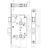 Zwart WC slot met asmaat 63/8mm, afgeronde voorplaat 20x175mm, doorn 50mm incl. sluitplaat
