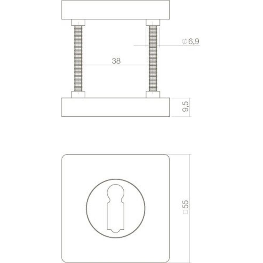 1 Paar rozetten sleutelgat vierkant mat zwart