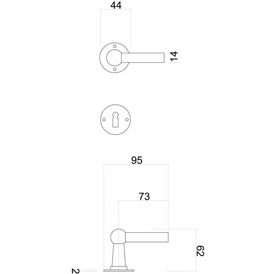 Deurklinken Petra NM L+L roest met WC garnituur