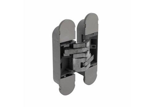 3 D Scharnier fiberglas 130x30, 3D verstelbaar, binnenwerk verzinkt + vernikkelde afdekkappen