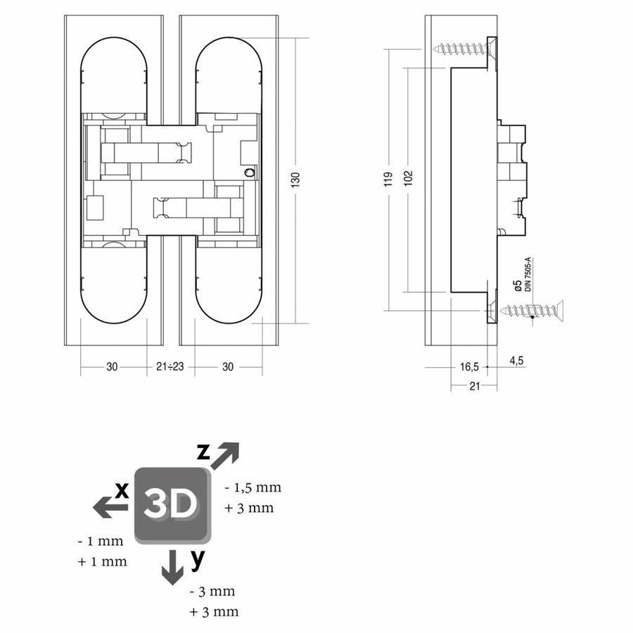3-D Scharnier fiberglas 130x30, 3D verstelbaar, binnenwerk verzinkt