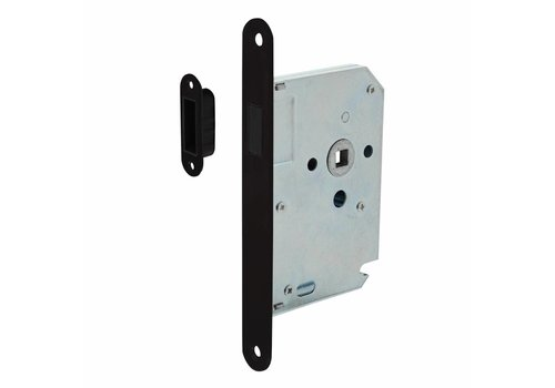 Black magnetic barrel lock, front plate stainless steel black lacquered, 20x175, mandrel 50mm